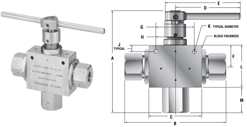 3 Way Ball Valve Dimensions