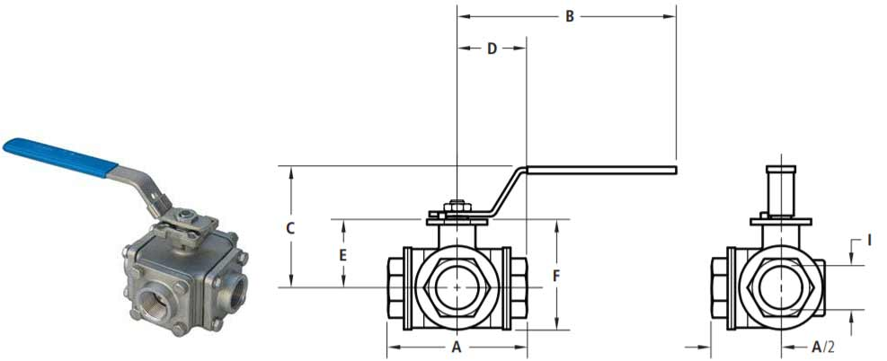 3-way full port ball valve dimensions