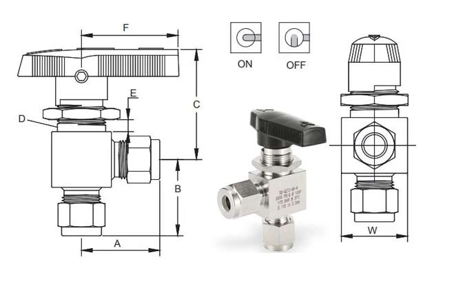 Two-way angle-type valve with ferrule